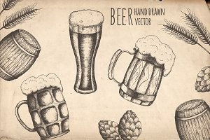 Hand drawn set of beer objects.