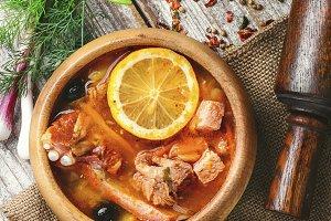 National Ukrainian soup Solyanka