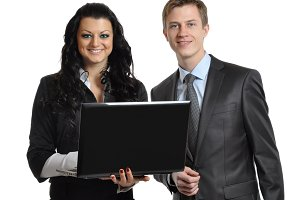 business associates with laptop