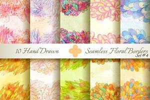 10 Floral Seamless Borders. Set#4