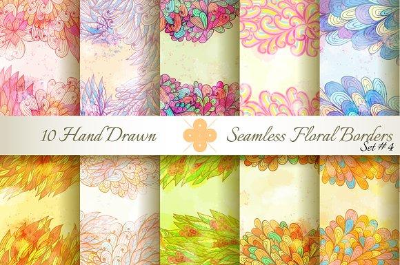 10 Floral Seamless Borders. Set#4 - Patterns