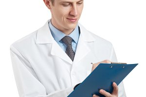 doctor in a white coat and with a clipboard