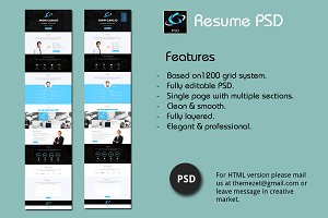 Resume PSD - One Page Design