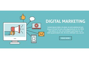 Digital marketing concept banner