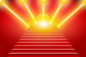 Stairs covered red carpet vector
