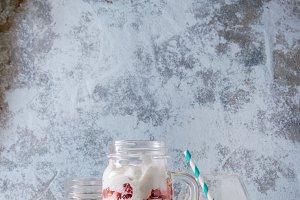 Breakfast with muesli and yoghurt