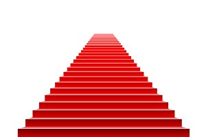 Stairs covered vector red carpet.