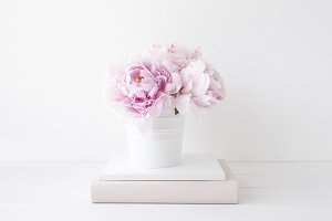 Pink peonies photo in white pot