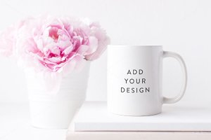 Mug mock up - Peonies