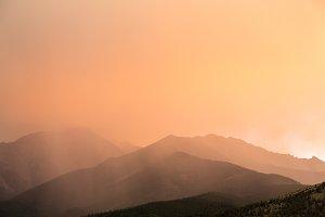 Sunlit rain storm clouds