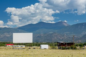 Outdoor drive in cinema screen