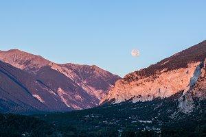 Sunrise over Colorado mountains