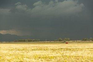 Storm over grasslands
