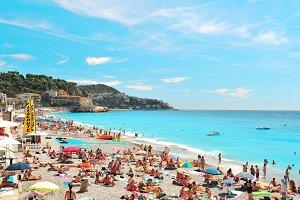 Public beach in Nice, France