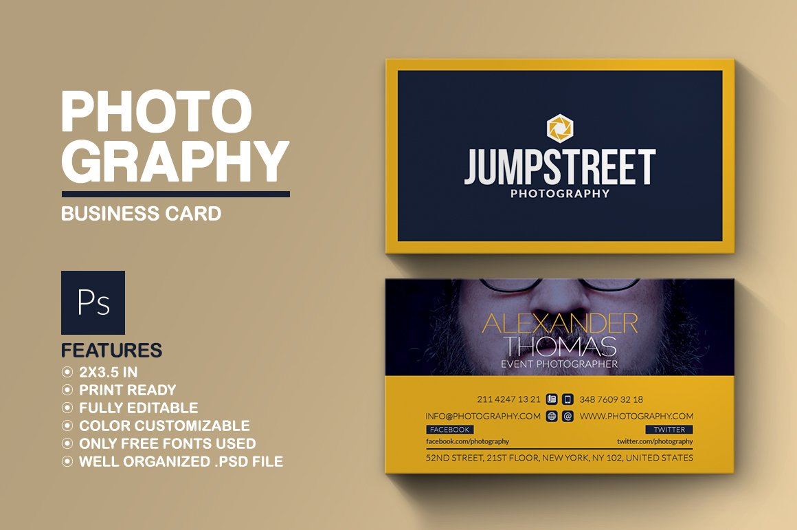Photography business card business card templates creative market reheart Gallery