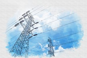 high voltage tower watercolor