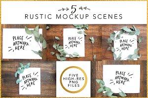 5 Rustic Mockup Scenes