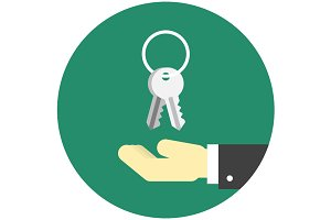 Hand with keys icon