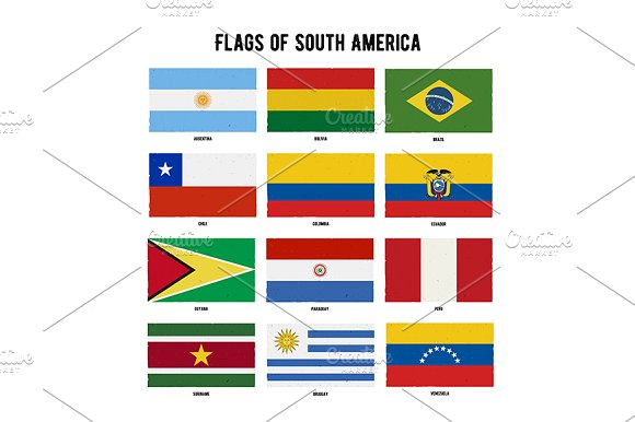 South America Continent Flag Pack Graphic Objects Creative Market