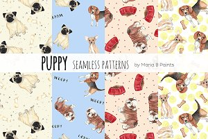 Watercolor Seamless Patterns - Dogs