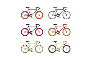 Hipster single speed bikes set