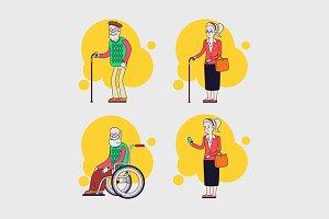 Vector set of elderly characters