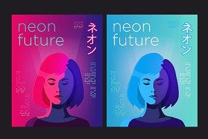 Neon futuristic posters