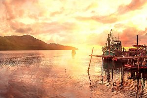 seascape watercolor effect.