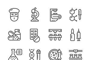 Set icons of pharmaceutical industry