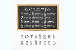 Menu Black Board. Vector