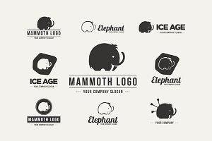 Mammoth silhouette vector logo set