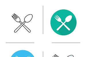 Spoon and fork icons. Vector
