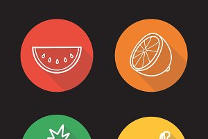 Tropical fruit icons. Vector