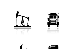 Fuel and gasoline icons. Vector