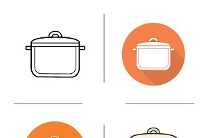 Saucepan icons. Vector