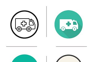 Ambulance icons. Vector