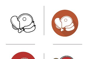 Meat products icons. Vector