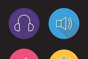 Audio player icons. Vector