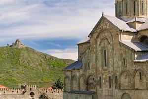 Svetitskhoveli Cathedral on the background of the holy cross (jvari)