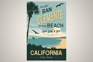 San Clement Beach Travel Poster