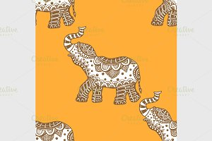 pattern with indian elephants.