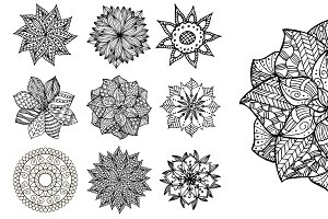 Set of 9 hand drawn mandalas. Vector