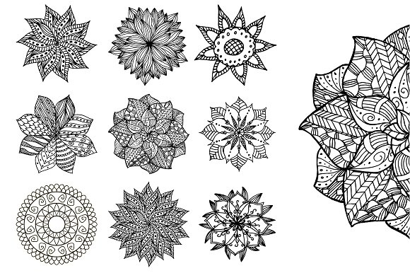 Set of 9 hand drawn mandalas. Vector - Illustrations