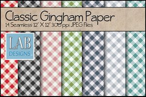 14 Classic Gingham Paper Textures