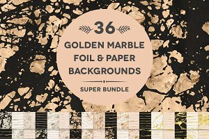 36 Golden Marble Foil & Papers