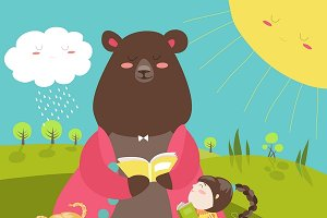 Cute bear reading book for girls