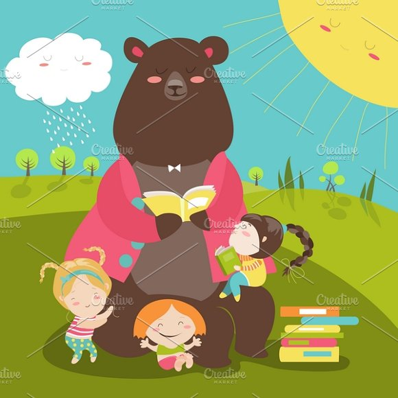 cute bear reading book for girls illustrations creative market
