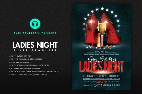 ladies night flyer template flyer templates creative market