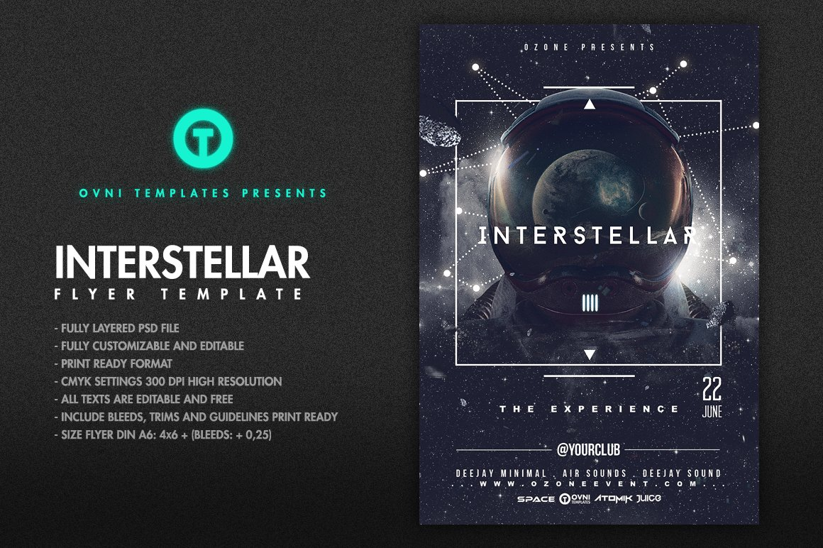 space interstellar flyer template flyer templates creative market