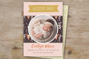 Woodland Girl Birth Announcement